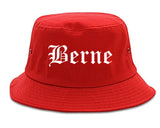 Berne Indiana IN Old English Mens Bucket Hat Red