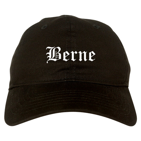 Berne Indiana IN Old English Mens Dad Hat Baseball Cap Black