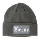 Berne Indiana IN Old English Mens Knit Beanie Hat Cap Grey