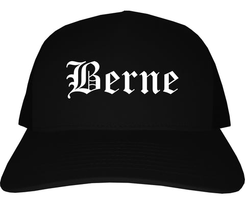 Berne Indiana IN Old English Mens Trucker Hat Cap Black