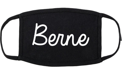Berne Indiana IN Script Cotton Face Mask Black