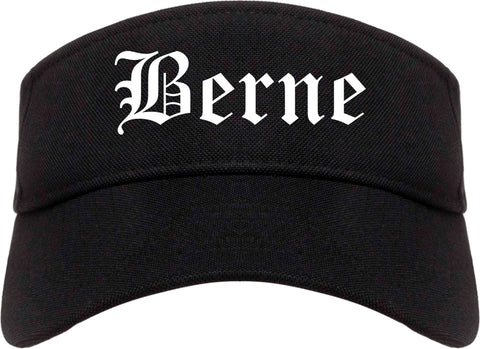 Berne Indiana IN Old English Mens Visor Cap Hat Black