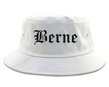 Berne Indiana IN Old English Mens Bucket Hat White
