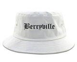 Berryville Arkansas AR Old English Mens Bucket Hat White