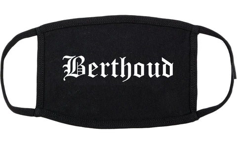 Berthoud Colorado CO Old English Cotton Face Mask Black