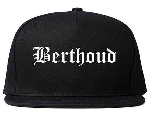 Berthoud Colorado CO Old English Mens Snapback Hat Black