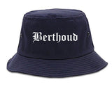 Berthoud Colorado CO Old English Mens Bucket Hat Navy Blue
