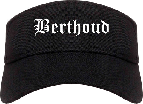 Berthoud Colorado CO Old English Mens Visor Cap Hat Black