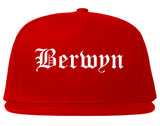 Berwyn Illinois IL Old English Mens Snapback Hat Red
