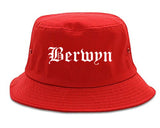 Berwyn Illinois IL Old English Mens Bucket Hat Red