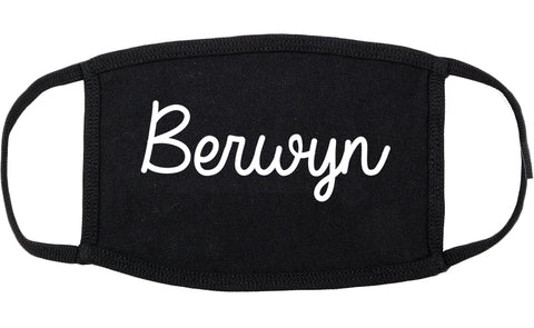 Berwyn Illinois IL Script Cotton Face Mask Black