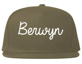 Berwyn Illinois IL Script Mens Snapback Hat Grey