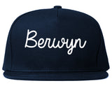 Berwyn Illinois IL Script Mens Snapback Hat Navy Blue