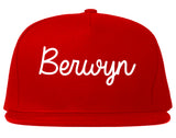 Berwyn Illinois IL Script Mens Snapback Hat Red