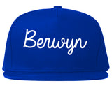 Berwyn Illinois IL Script Mens Snapback Hat Royal Blue