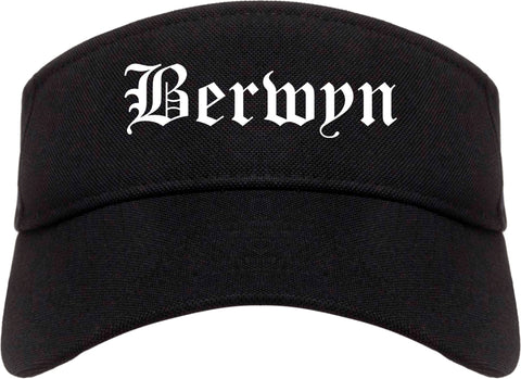 Berwyn Illinois IL Old English Mens Visor Cap Hat Black