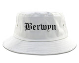 Berwyn Illinois IL Old English Mens Bucket Hat White