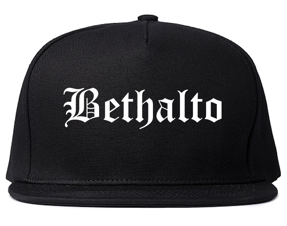 Bethalto Illinois IL Old English Mens Snapback Hat Black