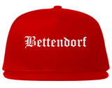 Bettendorf Iowa IA Old English Mens Snapback Hat Red