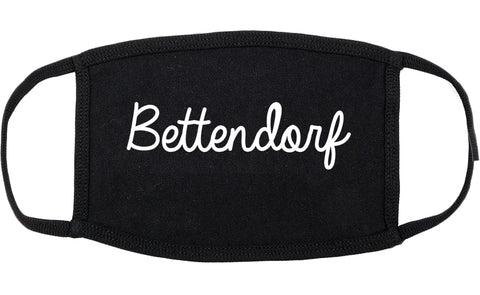 Bettendorf Iowa IA Script Cotton Face Mask Black