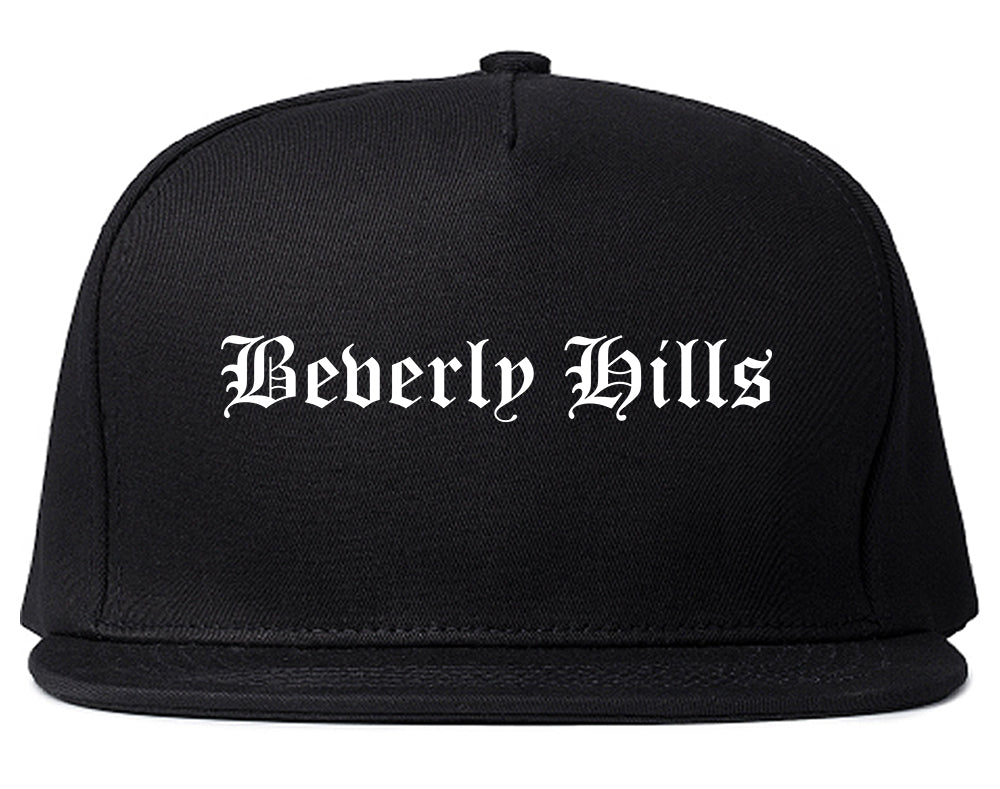 Beverly Hills California CA Old English Mens Snapback Hat Black