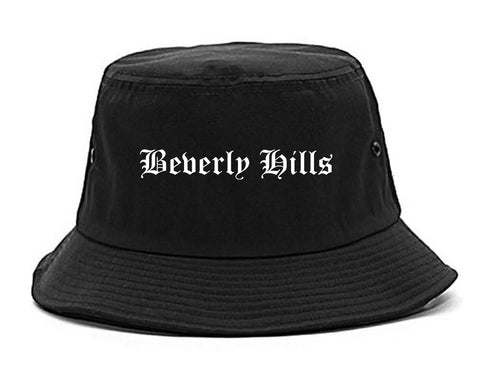 Beverly Hills California CA Old English Mens Bucket Hat Black