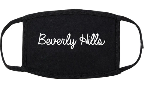Beverly Hills Michigan MI Script Cotton Face Mask Black