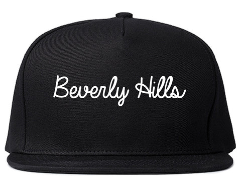 Beverly Hills Michigan MI Script Mens Snapback Hat Black