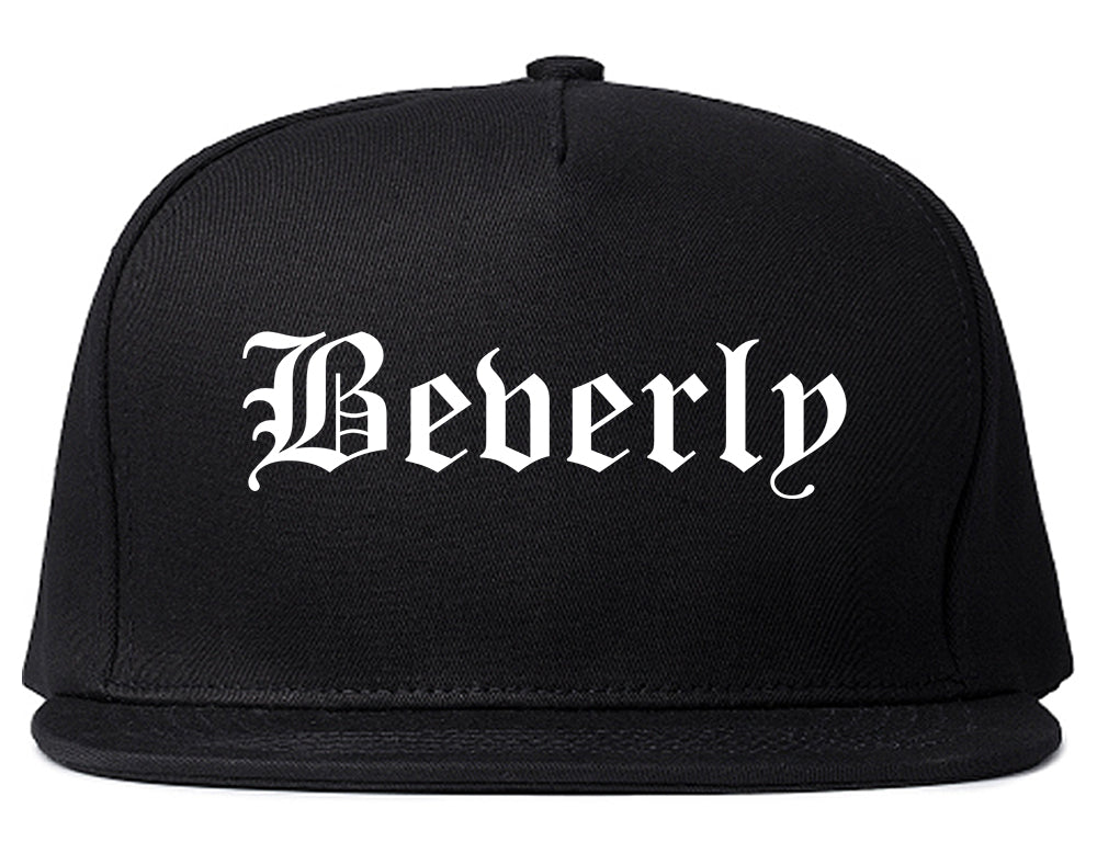 Beverly Massachusetts MA Old English Mens Snapback Hat Black