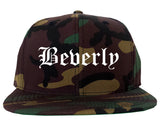 Beverly Massachusetts MA Old English Mens Snapback Hat Army Camo
