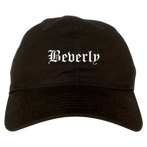 Beverly Massachusetts MA Old English Mens Dad Hat Baseball Cap Black