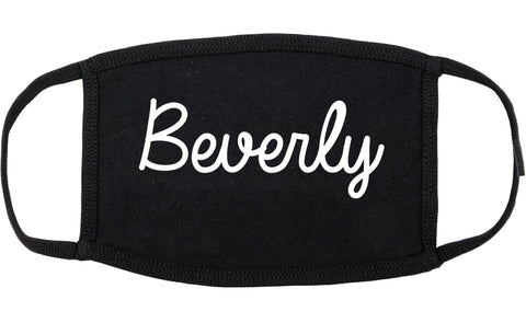Beverly Massachusetts MA Script Cotton Face Mask Black
