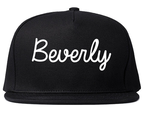 Beverly Massachusetts MA Script Mens Snapback Hat Black