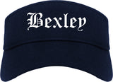 Bexley Ohio OH Old English Mens Visor Cap Hat Navy Blue