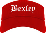 Bexley Ohio OH Old English Mens Visor Cap Hat Red