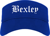 Bexley Ohio OH Old English Mens Visor Cap Hat Royal Blue