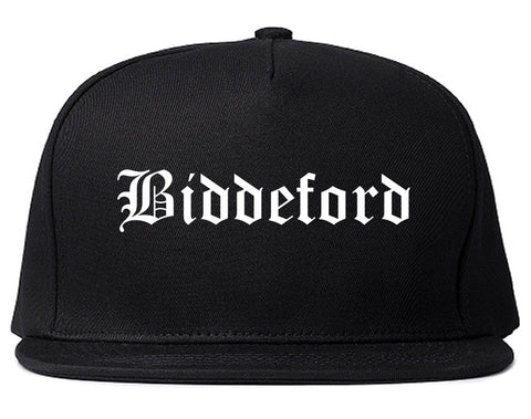 Biddeford Maine ME Old English Mens Snapback Hat Black
