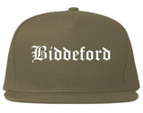 Biddeford Maine ME Old English Mens Snapback Hat Grey