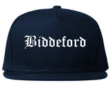 Biddeford Maine ME Old English Mens Snapback Hat Navy Blue