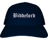Biddeford Maine ME Old English Mens Trucker Hat Cap Navy Blue
