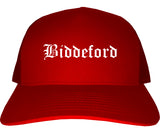 Biddeford Maine ME Old English Mens Trucker Hat Cap Red