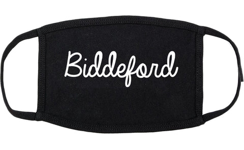 Biddeford Maine ME Script Cotton Face Mask Black