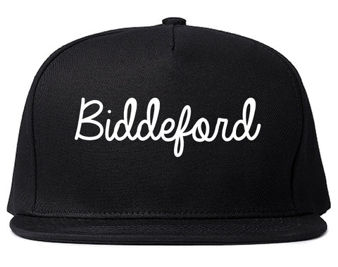 Biddeford Maine ME Script Mens Snapback Hat Black