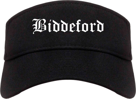 Biddeford Maine ME Old English Mens Visor Cap Hat Black