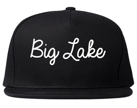 Big Lake Minnesota MN Script Mens Snapback Hat Black