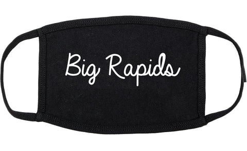 Big Rapids Michigan MI Script Cotton Face Mask Black