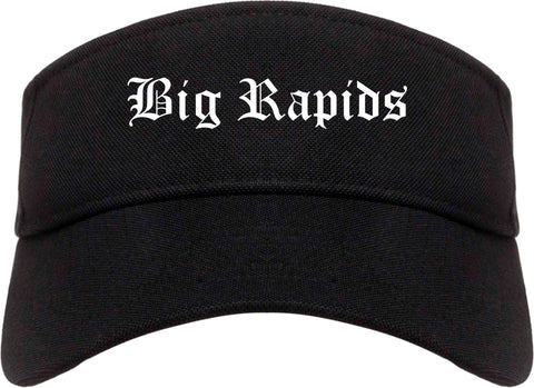 Big Rapids Michigan MI Old English Mens Visor Cap Hat Black