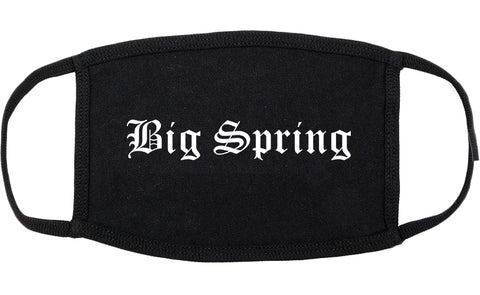 Big Spring Texas TX Old English Cotton Face Mask Black