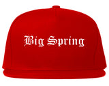 Big Spring Texas TX Old English Mens Snapback Hat Red