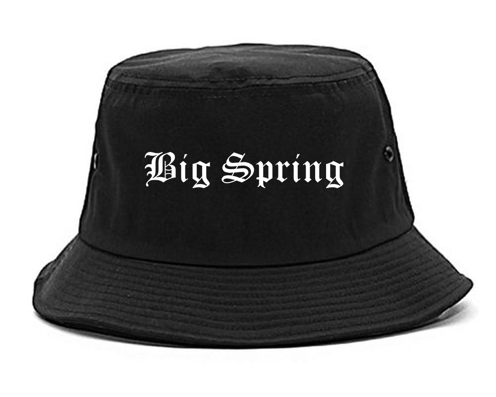 Big Spring Texas TX Old English Mens Bucket Hat Black